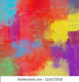 2d illustration. Contemporary art. Hand made art. Colorful texture. Modern artwork. Strokes of fat paint. Brushstrokes. Abstract painting on canvas. Artistic background image art on wall.