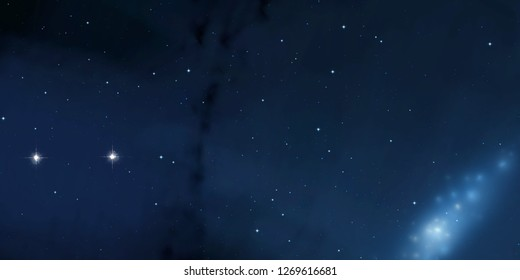 2d illustration. Deep interstellar space. Stars, planets and moons and comets. Various science fiction creative backdrops. Space art. - Shutterstock ID 1269616681