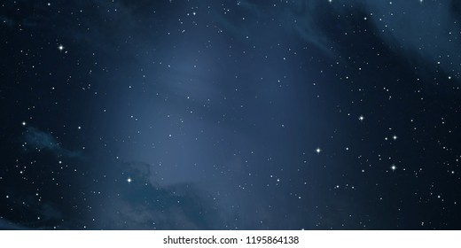 2d illustration. Deep space stellar background. Black universe. Cold nebula.