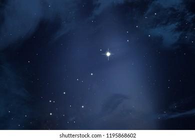 2d illustration. Deep space stellar background. Black universe. Cold nebula. - Shutterstock ID 1195868602