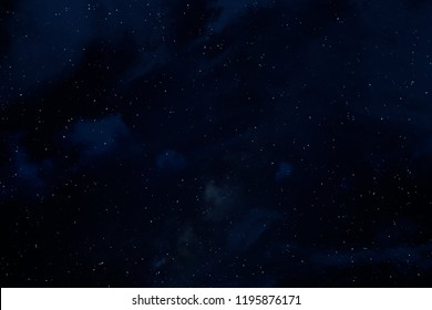 2d illustration. Deep space stellar background. Black universe. Cold nebula.