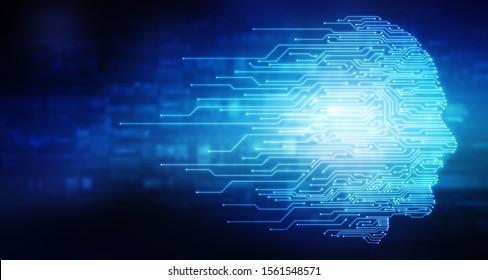 2d illustration digital Artificial mind concept