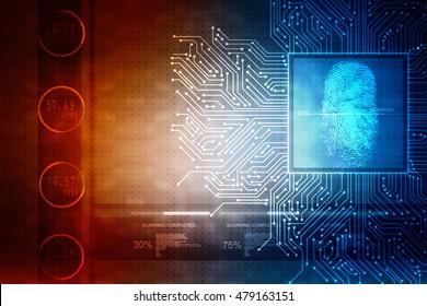 2d illustration Fingerprint Scanning Technology Concept Illustration. Fingerprint Searching Software. Identity Check
