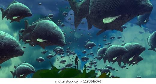 2d illustration. Human standing on an edge. Dreamlike abstract imaginary image. Imaginary world illustration. Sea life.