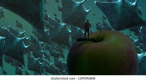 2d illustration. Human standing on an edge. Dreamlike abstract imaginary image. Imaginary world illustration
