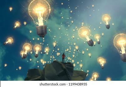 2. Abbildung. Fantasievolle traumhafte Motivationsgrafik. Person träumt. Idee und Wissen.