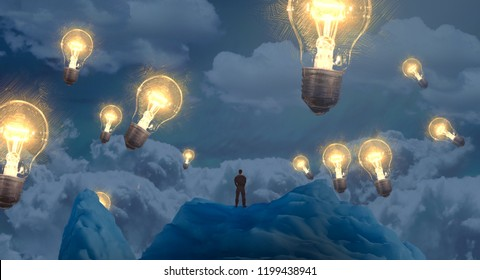 2d illustration. Imaginary dreamlike motivational illustration. Person dreaming. Idea and knowledge.