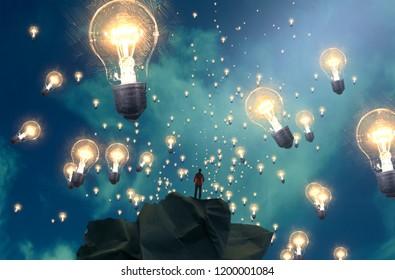 2d illustration. Imaginary dreamlike motivational illustration. Person dreaming. Office.