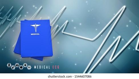 2d illustration medical logo with hospital book