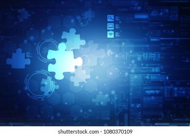 2d illustration Piece of puzzle
