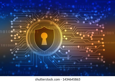 2d illustration Protection concept: pixelated Shield icon on digital background, Security background