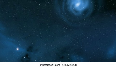 2d illustration. Realistic star pattern. Deep interstellar space. Stars, planets and moons. Various science fiction creative backdrops. Space art. Imaginary cosmic backdrop. - Shutterstock ID 1268725228