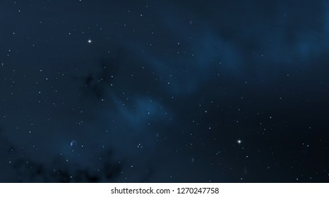 2d illustration. Realistic star pattern. Deep interstellar space. Stars, planets and moons. Various science fiction creative backdrops. Space art. Imaginary cosmic backdrop.