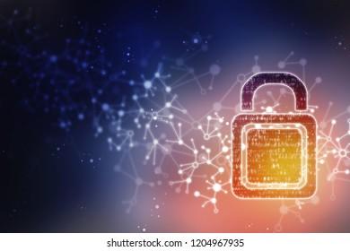 2d illustration of Safety concept: Closed Padlock on digital background