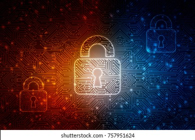 2d illustration Safety concept: Closed Padlock on digital background