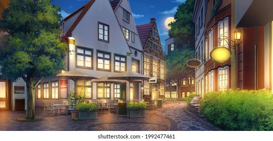 2D Illustration of Schnoor at the Nighttime, Anime background.