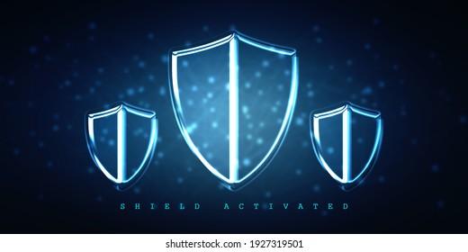 2d illustration Security concept - shield