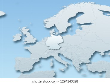 2D illustration showing a map of germany surrounded by other european countries. Including reliefs, borders, and meridians