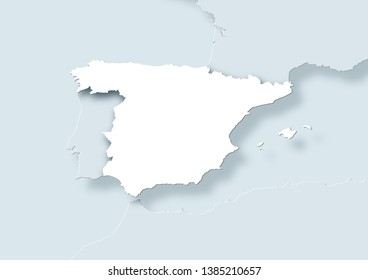 2D illustration showing a map of Spain surrounded by other european countries. Including reliefs, borders, and meridians