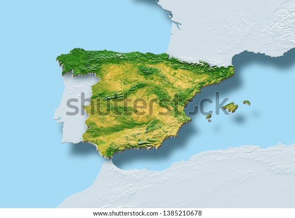 2d Illustration Showing Map Spain Surrounded Stock ...