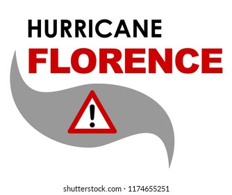 A 2-D  illustration with text related to Hurricane Florence that struck the United States in September 2018.