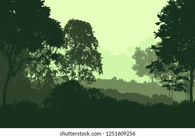 2d illustration. Trees in the fog. Deep forest haze. Hills covered by plants and foliage. Shrubs and bushes. Majestic view. Deep forest.