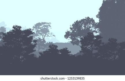 2d illustration. Trees in the fog. Deep forest haze. Hills covered by plants and foliage. Shrubs and bushes. Deciduous wood.