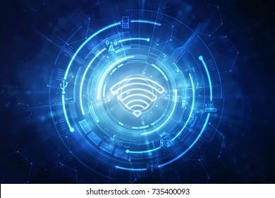 2d illustration WiFi symbol
