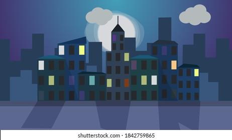 2D image of a night city. Flat cartoon city at night. City skyline against the backdrop of moonrise. Cartoon city. Night Background Scene. Bright light window on dark building towers