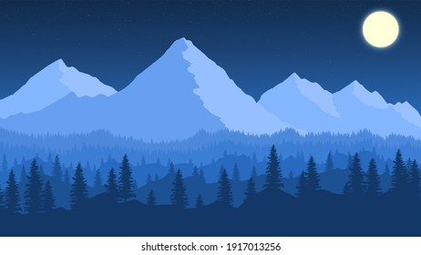 2D mountain night landscape with forest, stars and moon