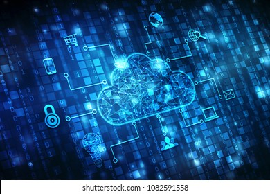 2d rendering Cloud computing, Cloud Computing Concept,  cyber background