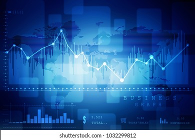 2d rendering Stock market online business concept. business Graph