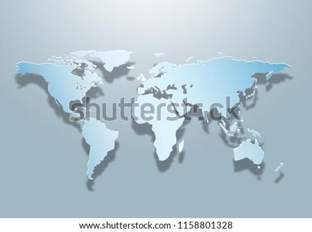 2 D World Map Created Shadow Light Stock Illustration Royalty Free