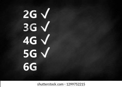 2G, 3G, 4G, 5G, 6G mobile communication technologies and checkmarks on a blackboard