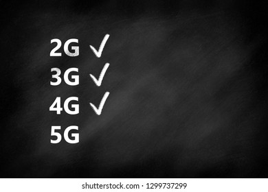 2G, 3G, 4G, 5G mobile communication technologies and checkmarks on a blackboard