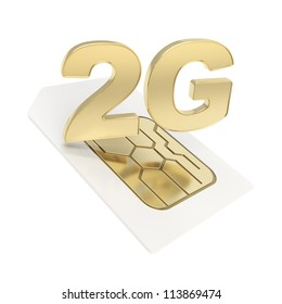 2G circuit microchip SIM card emblem isolated on white background