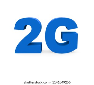 2G symbol on a white background. 3d Rendering.