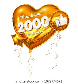 2k or 2000 followers thank you golden heart and gold balloons, star. 3D Illustration for Social Network friends, followers, Web user Thank you celebrate of subscribers or followers and likes.