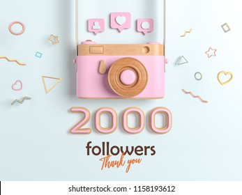 2k or 2000 followers thank you, Pink Retro Photo Camera and multicolor Figures. 3D Illustration for Social Network friends, followers, Web user Thank you celebrate of subscribers.