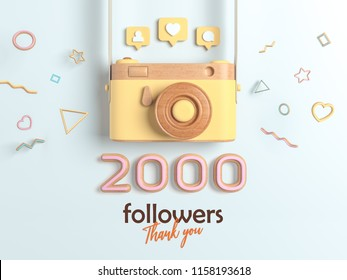 2k or 2000 followers thank you, Yellow Retro Photo Camera and multicolor Figures. 3D Illustration for Social Network friends, followers, Web user Thank you celebrate of subscribers.