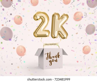 2k, 2000 followers thank you with gold balloons and colorful confetti. Illustration 3d render for social network friends, followers, web user Thank you celebrate of subscriber, followers, likes