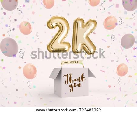 2 K 2000 Followers Thank You Gold Stock Illustration 723481999