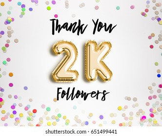 2k or 2000 thank you Gold balloons and colorful confetti, glitters. 3D Illustration for Social Network friends, followers, Web user Thank you celebrate of subscribers or followers, likes.