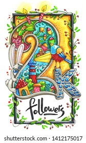 2k Followers with flowers, rabbit, castle and birds on white background. Watercolor and Marker art.