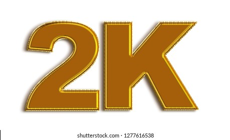 2K likes, followers online social media banner, letters, and icons. Isolated on white background. 3d illustration