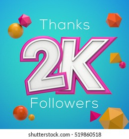2K likes online social media thank you banner. 3D rendering