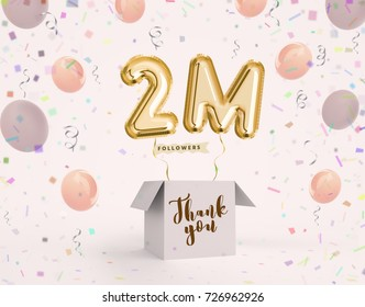2m, 2 million celebration like or follower with Gold balloons & confetti. 3D illustration for Celebrate or Thank you followers, friends, web user, subscribers on Social Network reach 9000000 followers