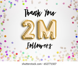 2M or 2 Million followers thank you Gold balloons and colorful confetti, glitters. 3D Illustration for Social Network friends, followers, Web user Thank you celebrate of subscribers, followers, likes.