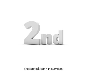 2nd Anniversary. 3D Rendering Illustration Isolated On White Background.