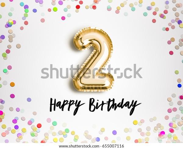 2nd Birthday Celebration Gold Balloons Colorful Ilustracje